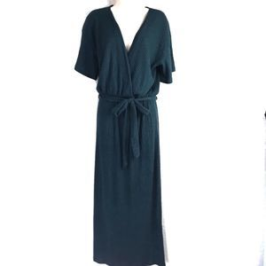 Lush Maxi Faux Wrap Ribbed Teal Belted Dress M EUC